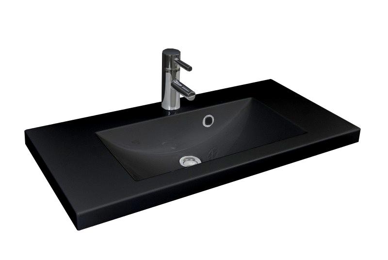 aufsatzwaschbecken gussmarmor waschbecken bad 100cm waschtisch schwarz 1000mm ebay. Black Bedroom Furniture Sets. Home Design Ideas