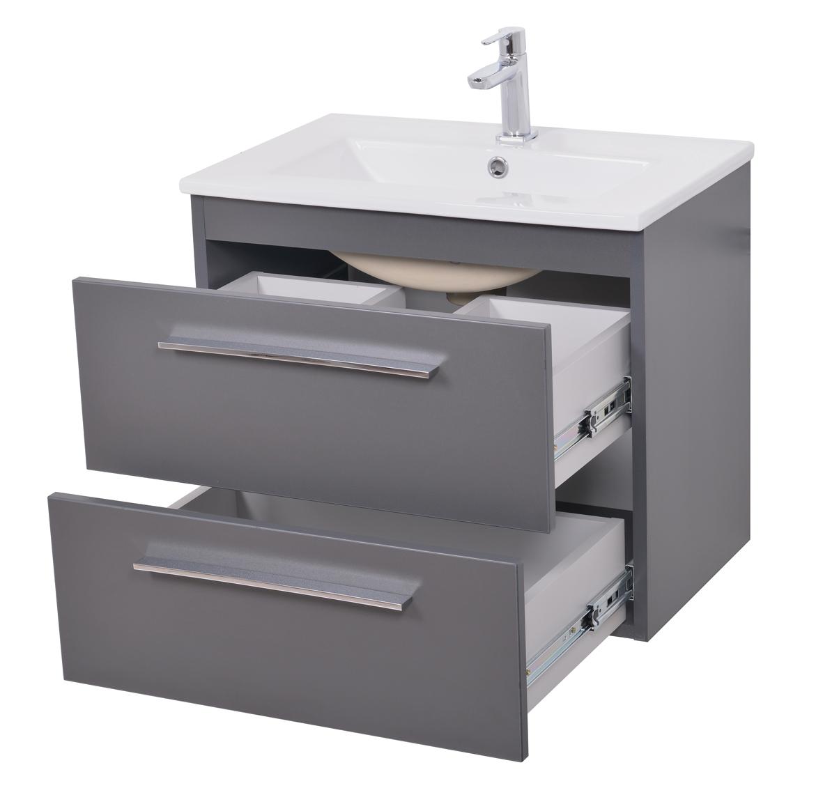neu waschbeckenunterschrank mit waschbecken 82 graphit direkt vom hersteller ebay. Black Bedroom Furniture Sets. Home Design Ideas