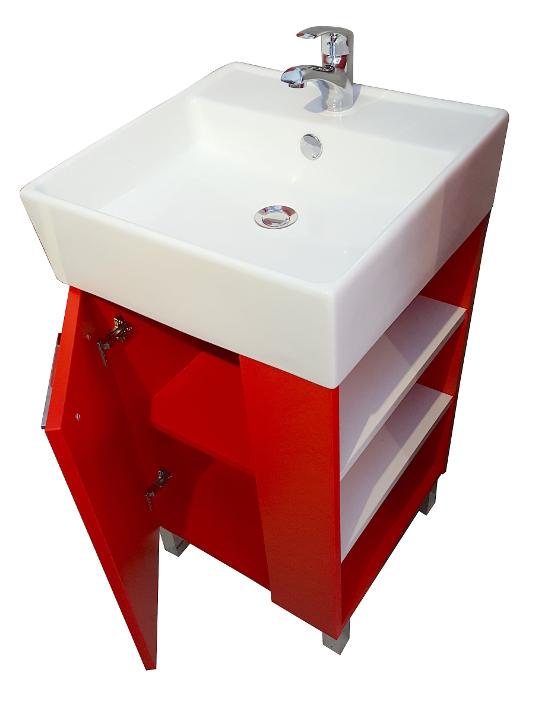 waschbecken mit unterschrank 45 cm badm bel set waschtisch grau quadrillo ebay. Black Bedroom Furniture Sets. Home Design Ideas
