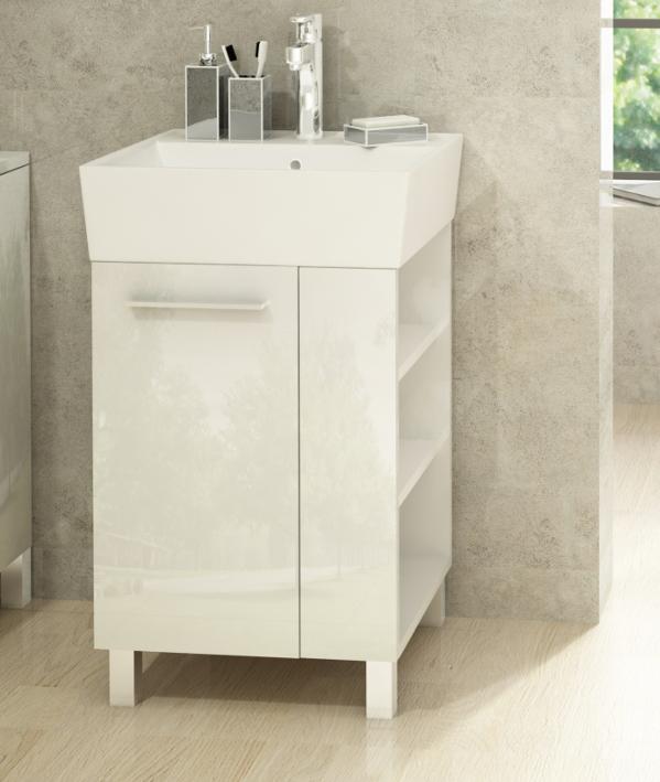 waschbecken mit unterschrank 50 cm badm bel set waschtisch hochglanz wei ebay. Black Bedroom Furniture Sets. Home Design Ideas