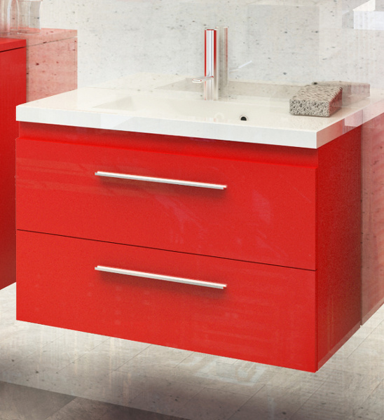 mineralguss waschbecken 80 cm unterschrank rot hochglanz sycylia ebay. Black Bedroom Furniture Sets. Home Design Ideas