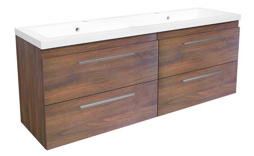 doppelwaschtisch waschbeckenunterschrank badm belset 120 eiche dunkel waschplatz ebay. Black Bedroom Furniture Sets. Home Design Ideas