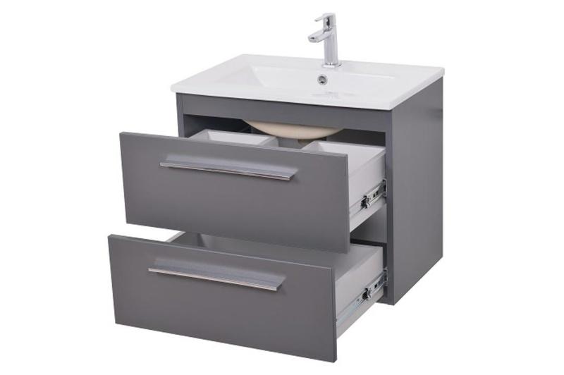 Waschtisch mit Unterschrank SICILIA Waschplatz Badmöbel Schubladen Weiß 50 cm